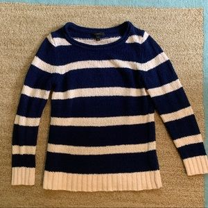 Jcrew Navy Ivory Stripe Cotton Sweater